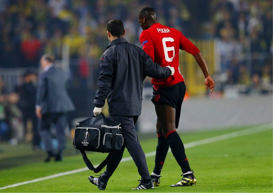 Paul Pogba limping off