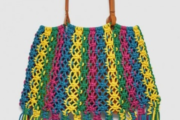 Multicolored Braided Bucket Bag