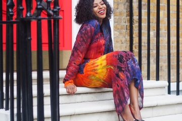 Stephanie Coker in flowing adire