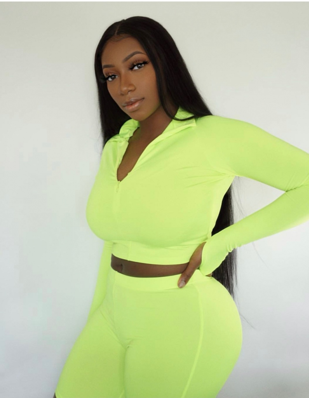 Image of a girl wearing a neon outfit
