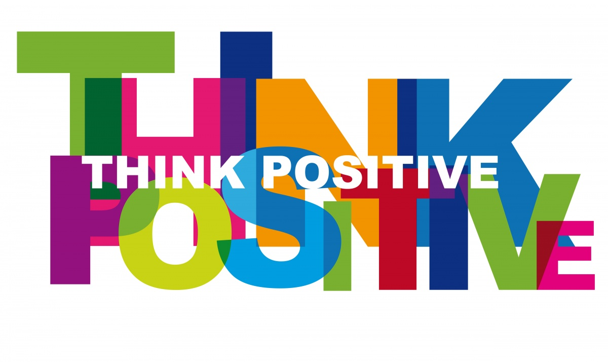 Think Positive written in bright colours