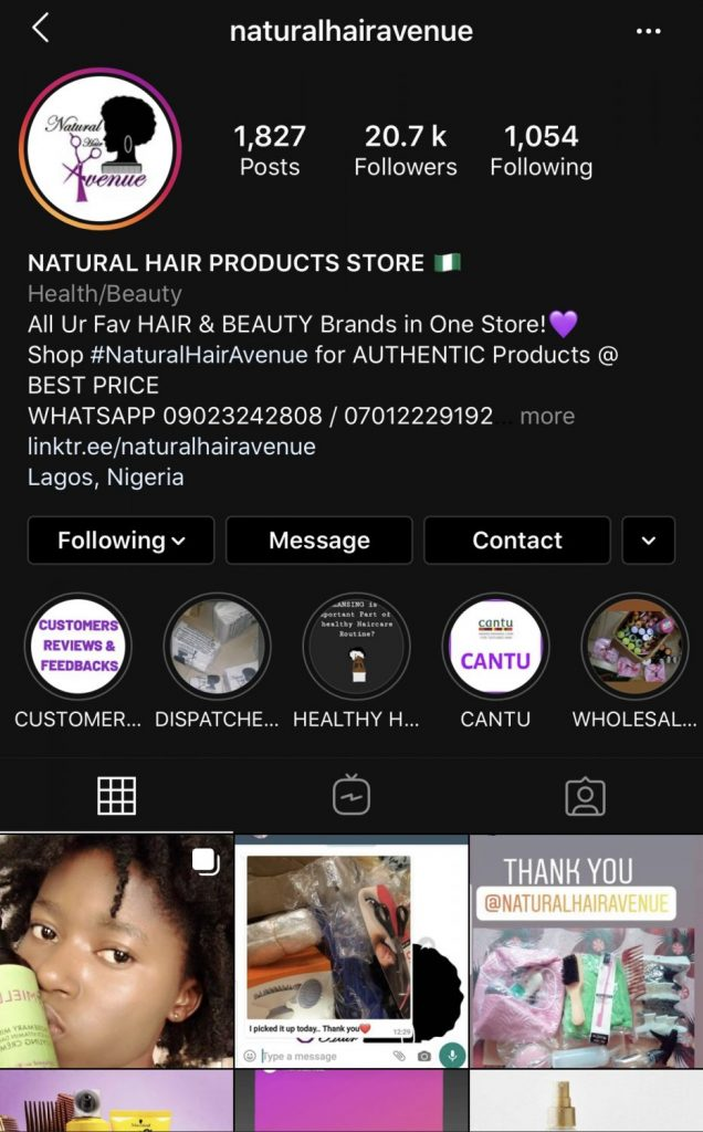 Natural Hair Avenue is a store for natural hair care