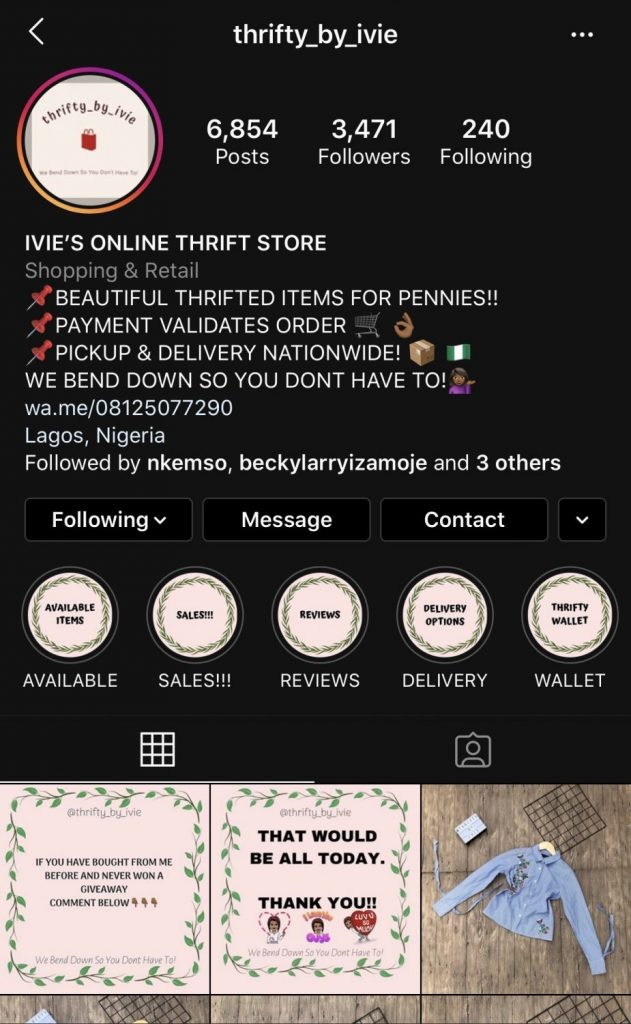 thrifty by Iviye is a thrift store in lagos